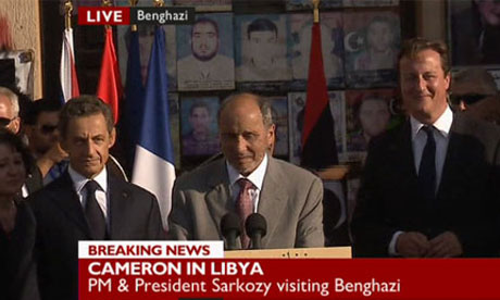 Nicolas Sarkozy, Mustafa Abdul Jalil and David Cameron in Benghazi on 15 September 2011