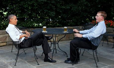 President Obama sharing a beer with former Marine Dakota Meyer, Medal of Honor winner