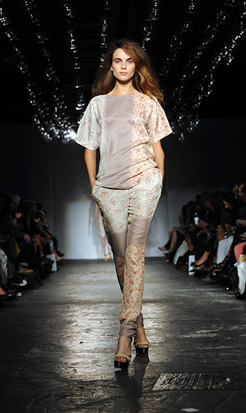 London Fashion Week Day 2: A model at the Clements Ribeiro Runway Spring/Summer 2012 show
