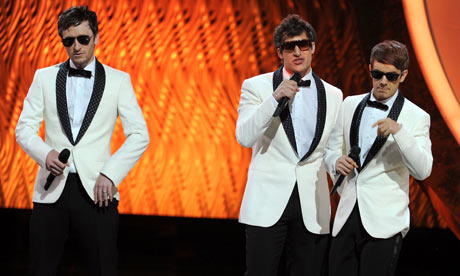 Akiva Schaffer, Andy Samberg, Jorma Taccone of The Lonely Island at the 2011 Emmy awards