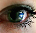 Facebook logo in eye 