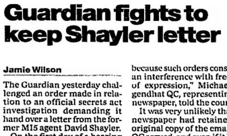 Guardian fights to keep Shayler letter, Mar 15 2000