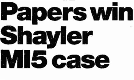 Papers win Shayler MI5 case, Guardian, July 22 2000
