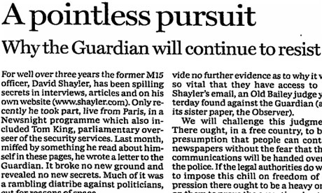 Guardian leader on Shayler case, March 2000
