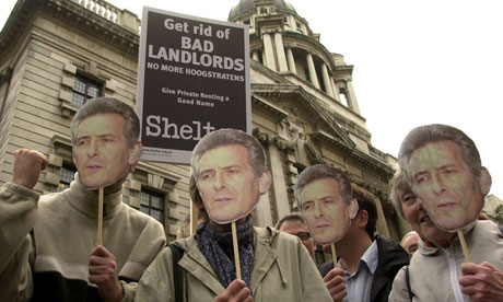 Shelter supporters demonstrate against bad landlords, London, 2002.