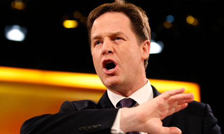 Nick Clegg speaking at the Lib Dem conference