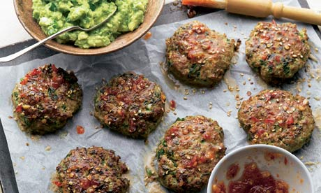 Yotam Ottolenghi's turkey cakes with wasabi guacamole