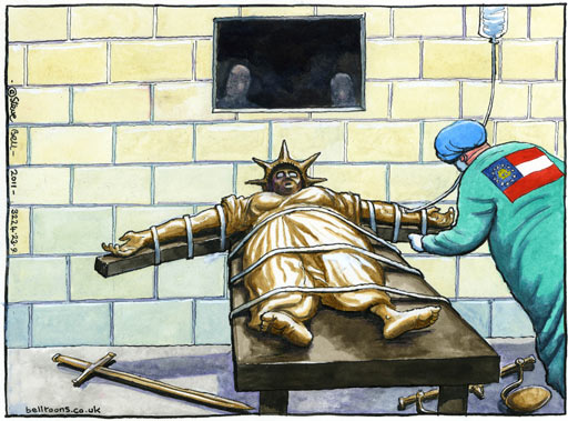 Steve Bell cartoon on the execution of Troy Davis