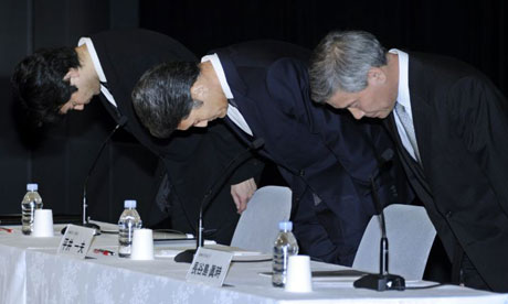 Sony executives Shiro Kambe, Kazuo Hirai  and Shinji Hasejima