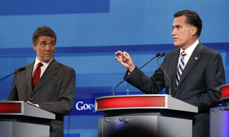 Rick Perry and Mitt Romney at debate