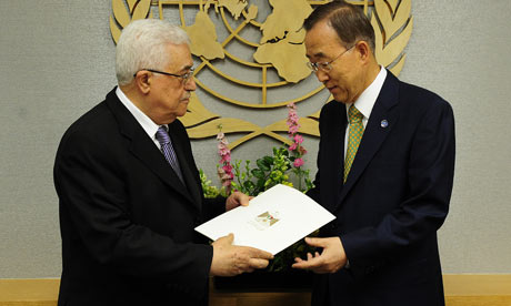 Mahmoud Abbas presents an application for Palestinian UN membership to secretary general Ban Ki-Moon
