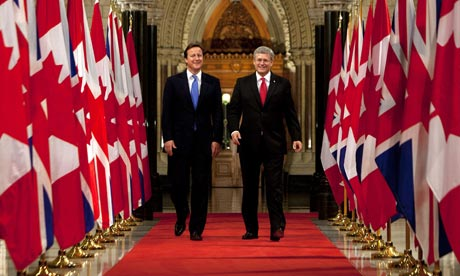 Prime Minister David Cameron with Canadian PM Stephen Harper in Ottawa