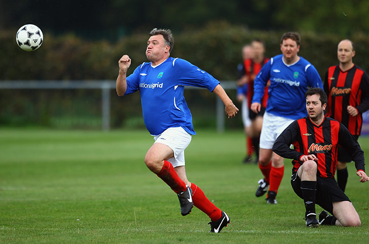 MP's playing football: Ed Balls at Labour MP's v Press Lobby Party Conference football match