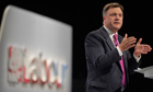 Ed Balls, Labour's shadow chancellor, delivers his speech to the Labour party conference