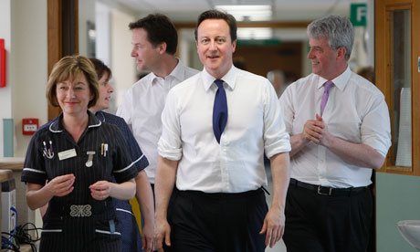 Nick Clegg, David Cameron and Andrew Lansley visit Frimley Park Hospital on 6 April, 2011.