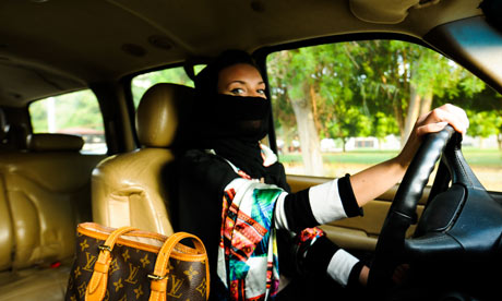 a veiledwoman driving in Saudi