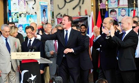 David Cameron in Benghazi, Libya