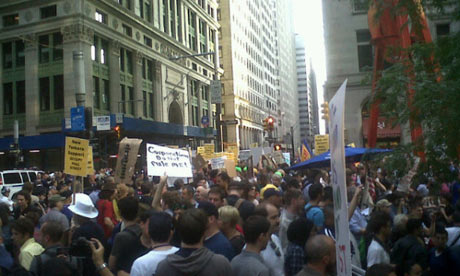 Occupy Wall Street protesters begin their march on Police Plaza in New York