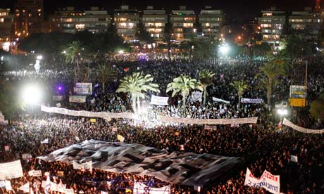 Demonstrators in Tel Aviv