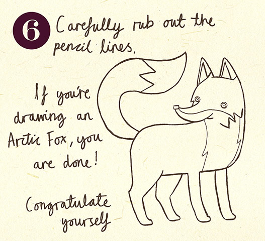 how to draw cute arctic fox