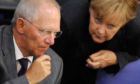 The German chancellor, Angela Merkel, with finance minister Wolfgang Schäuble