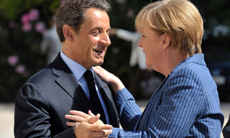 Nicolas Sarkozy welcomes Angela Merkel