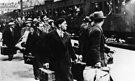 Jews, mainly Polish, getting off a train in Pithiviers, central France, in May 1941