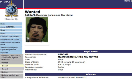 Interpol red notice for the arrest of Gaddafi