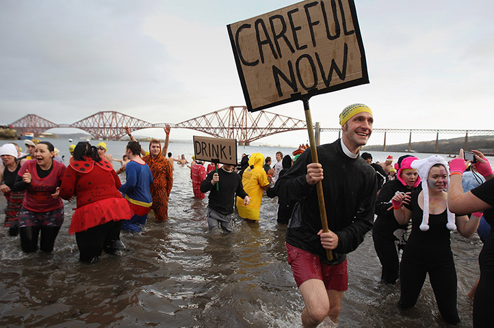 New Years day swimmers: Hardy Swimmers take a festive dip in the Firth of Forth
