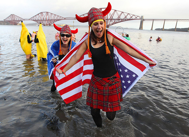 New Years day swimmers: Swimmers participate in the Loony Dook swim at South Queensferry