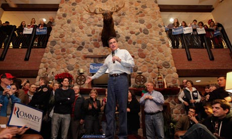 Mitt Romney addresses supporters at a campaign stop in the Stoney Creek Inn, Sioux City