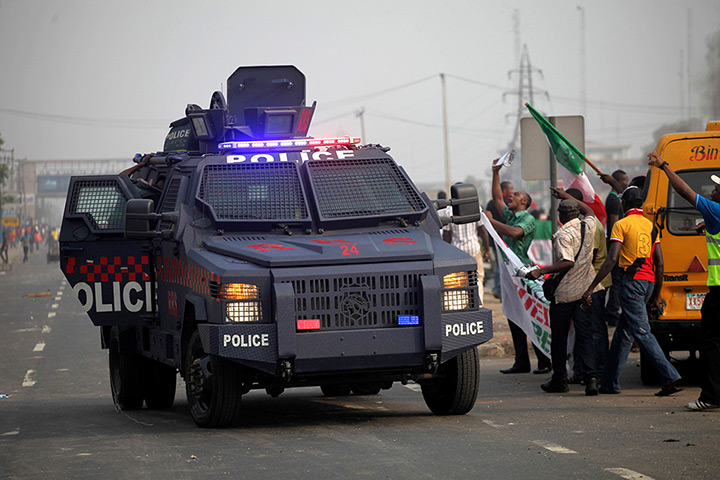 Nigeria fuel protests: A police armoured vehicle