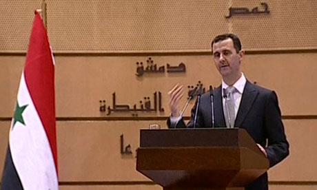 Syrian President Bashar al-Assad delivering a speech in Damascus