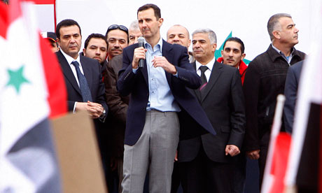 Bashar Assad addresses supporters during a rally at a central square in Damascus, Syria