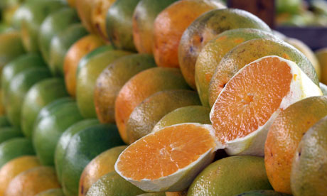 Oranges are seen at a market in Sao Paulo