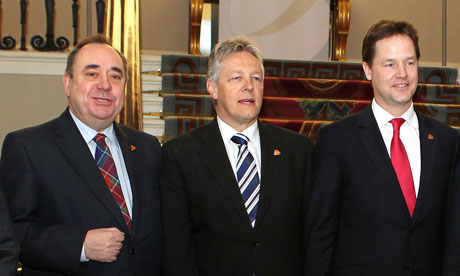 Alex Salmond, Peter Robinson and Nick Clegg at the British-Irish Council meeting on 13 January 2012.
