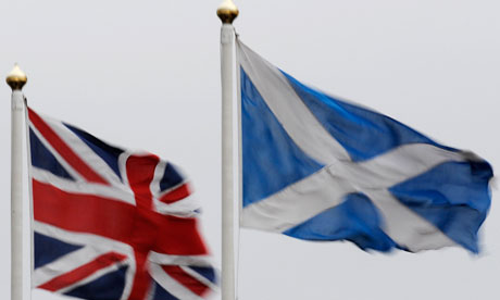 The union flag and Saltire flying side by side in Perthshire, Scotland