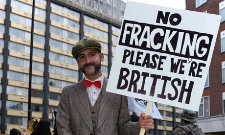 Gary Gardiner, from Brighton, taking part in a London protest against fracking