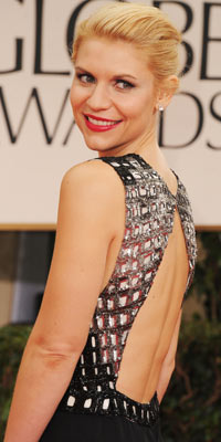 Claire Danes arrives at the Golden Globes.