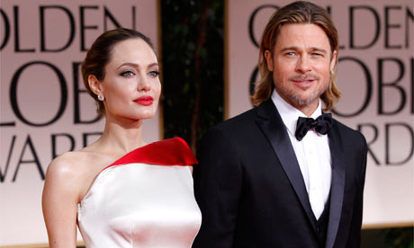 Angelina Jolie and Brad Pitt arrive at the Golden Globes
