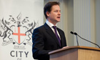 Nick Clegg making his speech to business leaders
