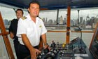Captain Francesco Schettino on the bridge of a cruise liner in New York in 2010