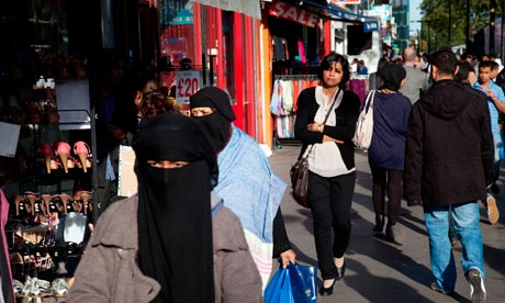 Women of Muslim background on Whitechapel High Street in East London.