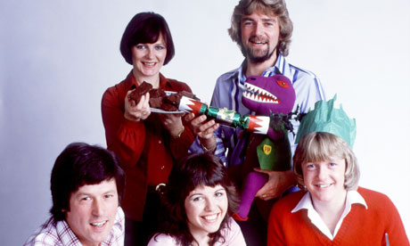 Swapshop in 1981 with Delia Smith, Noel Edmonds, John Craven, Maggie Philbin and Keith Chegwin