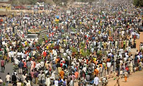 People protest in Kano, which has been hit by explosions and gunfire.