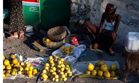 Street trader selling fruit, Haiti