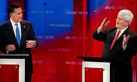 Mitt Romney and Newt Gingrich sparring at the NBC Republican debate in Tampa, Florida.