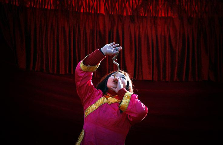 Пекин, Китай: девушка глотает живую змею