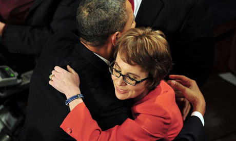 Barack Obama hugs Gabrielle Giffords
