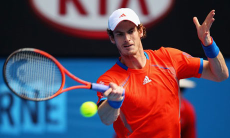 Andy Murray plays a forehand in his quarter-final match against Kei Nishikori of Japan